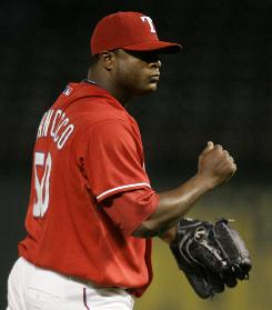 The Rangers'     Frank Francisco has yet to allow an earned run this season and has converted all 14 of his save opportunities since being installed as the club's closer last August.