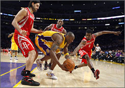 The Houston Rockets, triple-teaming the Lakers' Kobe Bryant, are one of the most data-centric teams in the NBA. The Denver Nuggets, another team with a deep data staff, even have a director of quantitative analysis.