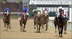 Rachel Alexandra runs alone to the finish at the Kentucky Oaks.