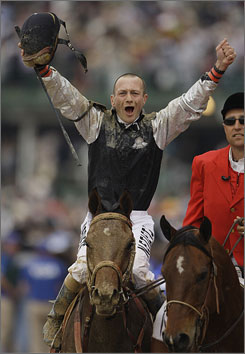 Calvin Borel had every right to celebrate after riding Mine That Bird to a stunning Kentucky Derby victory, rallying the 50-1 longshot from last place to the winner's circle on May 2. On Saturday, Borel will be aboard filly Rachel Alexandra, which won the Kentucky Oaks on May 1.