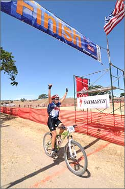 Amanda Duarte, 17, a junior at Granite Hills (Calif.) High School, winning the Junior Varsity division at the Cow Pie Classic mounatin bike race on May 3, the fourth and final race of the first SoCal high school mountain racing season.