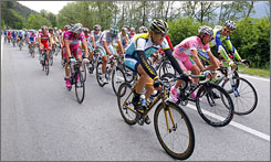 From left, Lance Armstrong, Danilo Di Luca and Ivan Basso lead the way during the seventh stage of the Giro d'Italia.