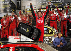 Tony Stewart, celebrating in victory lane with his crew, became the second driver-owner to win the NASCAR All-Star Race, joining 1994 winner Geoffrey Bodine.