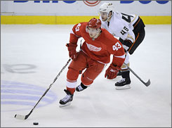 "The Red Wings' Darren Helm (43) is a leading candidate for NHL's fastest skater. ""If he's not the fastest, he is at least in the top five,"" said NBC analyst Ed Olczyk, a former NHL coach and player."