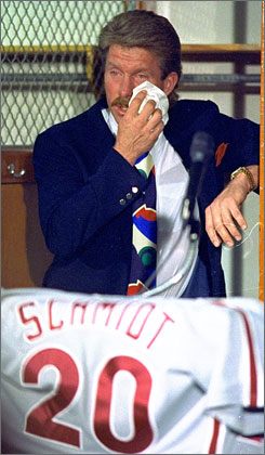 Mike Schmidt bid a tearful farewell to baseball on May 29, 1989, while the Phillies were in San Diego. He batted just .203 in his final season.