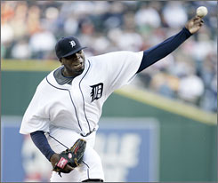Dontrelle Willis fires against the Texas Rangers on Tuesday en route to his first victory for the Tigers. The left-hander, who had been in the minors, went 7 1/3 scoreless innings.