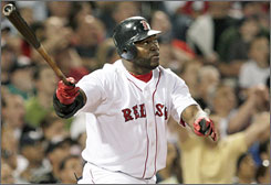 David Ortiz watches his two-run homer off Blue Jays pitcher Brett Cecil on Wednesday. The home run was the first of the year for Ortiz after 149 at-bats.