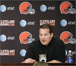 The Browns hired Eric Mangini as head coach after he was fired by the Jets following last season.