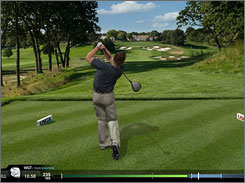 Virtual golfers can take their own shot at playing the 18th hole of Bethpage Black.
