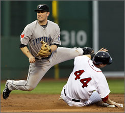 Blue Jays second baseman Aaron Hill, avoiding the Red Sox's Jason Bay to complete a double play last week at Fenway Park, has been compared to former Blue Jay Roberto Alomar.