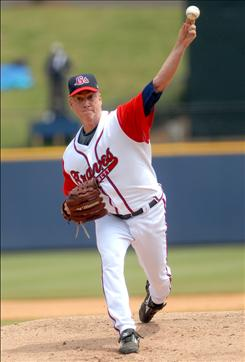 Atlanta Braves pitcher Tom Glavine, on a rehab assignment with the Gwinnett Braves, pitched five scoreless innings Thursday against the Indianapolis Indians in a  Triple-A game at Gwinnett Stadium in Lawrenceville, Ga.  Glavine is trying to come back from arm surgery at age 43,