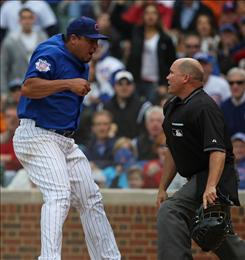 Chicago Cubs pitcher Carlos Zambrano was suspended six games for his argument with home plate umpire Mark Carlson after a play at the plate in Wednesday's game against the Pittsburgh Pirates at Wrigley Field. The Cubs defeated the Pirates 5-2.