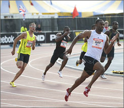Tyson Gay competes in the men's 200-meter race at the Reebok Grand Prix in New York.