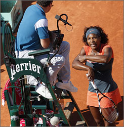 Serena Williams accused her opponent, Maria Jose Martinez, of cheating in Saturday's match.
