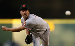 Left-hander Randy Johnson, in action last month against the Seattle Mariners, will try to earn his 300th career victory Wednesday in Washington.
