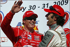 Scott Dixon celebrates in Victory Lane with teammate Dario Franchitti, the third-place finisher.
