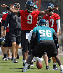 The win total for David Garrard and the Jaguars fell from 12 in 2007 to five last season.