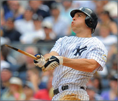 Yankees first baseman Mark Teixeira hit a surprising broken bat home run against the Philadelphia Phillies at new Yankee Stadium on May 24. The stadium is on pace for 306 homers, which would surpass the record 303 hit in 1999 at Coors Field.