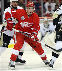 """""""I relish the big stage,"""" says Red Wings forward Justin Abdelkader, passing the puck during Game 1 vs. the Penguins."""