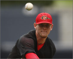 San Diego State right-hander Stephen Strasburg is the favorite to be the No. 1 pick in the June 9 draft. The junior throws a fastball that has been clocked as high as 103 mph and regularly hits 98 mph.