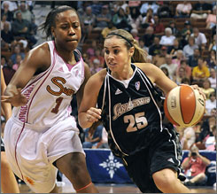 All-Star guard Becky Hammon of the San Antonio Silver Stars has been playing in Russia during the WNBA offseason since 2007.