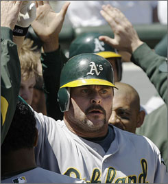 Jason Giambi hit a three-run home run to carry the load for the Athletics.