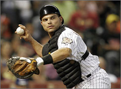 Pudge Rodriguez, 37, needs to start seven more games as a catcher to become the all-time major league leader in games caught, passing Carlton Fisk.