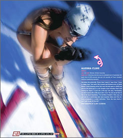 "Readers of ESPN The Magazine got some ""Body Pages"" in 2004 when Canada's Aleisha Cline skied in the buff."