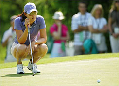 Michelle Wie lines up a putt during the Corning Classic on May 23. This week at the LPGA Championship, Wie hopes her game is ready to carry her to the winner's circle at the year's second major championship.