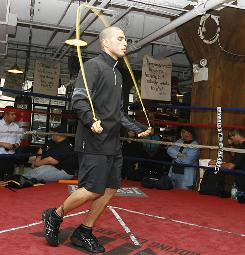 Miguel Cotto works out at the Trinity Gym for his upcoming fight against Joshua Clottey.