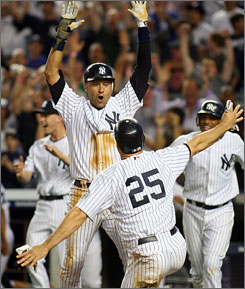 Mark Teixeira of the Yankees finds teammate Derek Jeter, top, waiting to celebrate as he comes around to score the winning run all the way from first base on an error by Mets second baseman Luis Castillo in Friday night's 9-8 win.