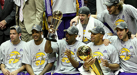 Finals MVP Kobe Bryant is at the center of the Lakers celebration of the franchise's 15th NBA championship after Sunday's Game 5.