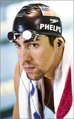 Michael Phelps sports the new H20 Audio's Interval with a built-in Surge waterproof headphones for use during training.