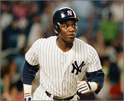 Former New York Yankees outfielder Mel Hall, shown here in 1989, could face up to life in prison after being convicted of sexually assaulting a child.
