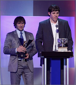 Evgeni Malkin of the Pittsburgh Penguins and Alex Ovechkin of the Washington Capitals provided the best laugh of the night when they took the stage to receive the Art Ross and Rocket Richard trophies on Thursday. Ovechkin joked that Malkin's English was better than fellow Russian Pavel Datsyuk's.