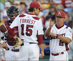 T.J. Forrest is replaced after pitching against LSU earlier in the College World Series.