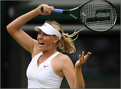 Maria Sharapova struggled in the first round at Wimbledon but survived to defeat Viktoriya Kutuzova in straight sets to advance.
