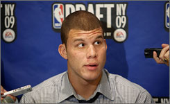 Blake Griffin fields questions from reporters, one day before his fate is decided in the NBA draft.