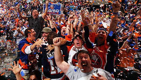 Islanders fans go crazy at a draft party at Nassau Coliseum in Uniondale, N.Y., after the team made John Tavares the first overall pick of the 2009 NHL draft.