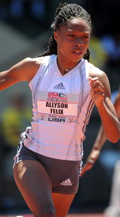 Allyson Felix wins the women's 200-meter in 22.02 seconds at the U.S. track and field championships in Eugene, Ore., on June 28.