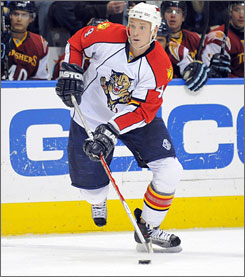 Jay Bouwmeester played six season for the Florida Panther before his rights were acquired by the Flames on June 27.