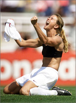 Brandi Chastain made waves when she shedded her shirt and showed off her sports bra after helping the United States win the 1999 World Cup with a game-clinching penalty kick.