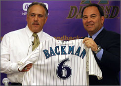 Wally Backman, left, was introduced by then general manager Joe Garagiola Jr. as Diamondbacks manager on Nov. 1, 2004. He was fired four days later when reports of legal problems surfaced in The New York Times.