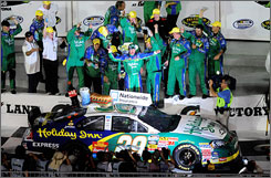 Clint Bowyer celebrates after winning the Subway Jalapeno 250 at Daytona International Speedway for his first NASCAR Nationwide Series triumph of the season.