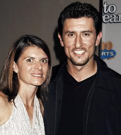 "Mia Hamm and Nomar Garciaparra arrive for the premiere of the HBO sports documentary ""Dare to Dream"" in New York on Nov. 29, 2005."