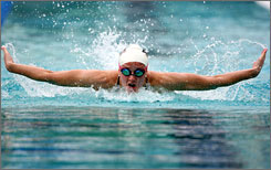 Dagny Knutson, shown in a June meet, was fourth Tuesday in the 200 individual medley in the U.S. championships.