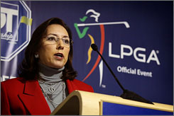 LPGA commissioner Carolyn Bivens, speaking on Nov. 19, 2008, is under fire after a report surfaced that several prominent LPGA players asked the LPGA board for her resignation.