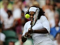 Serena Williams, shown here playing with sister Venus in the women's doubles finals at Wimbledon, made her World TeamTennis season debut for the Washington Kastles at the Boston Lobsters on Wednesday. 