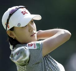 Na Yeon Choi of South Korea shot a 3-under par 68 to grab a one-stroke lead after the first round of the U.S. Women's Open on Thursday at Saucon Valley Country Club in Bethlehem, Pa.
