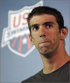 US swimmer Michael Phelps after setting a world record in the 100-meter butterfly at the U.S. nationals in Indianapolis on Thursday. On Friday, he pulled out of the 100 freestyle.